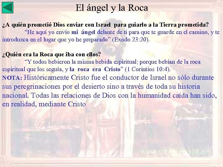El ángel y la Roca ¿A quién prometió Dios enviar con Israel para guiarlo