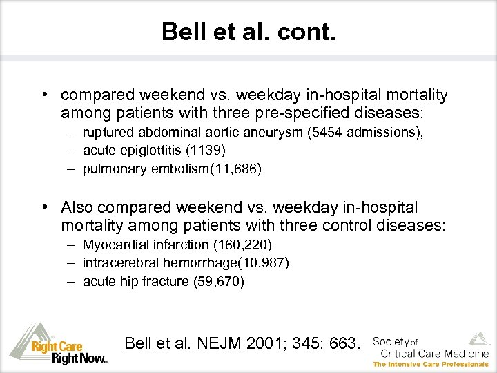 Bell et al. cont. • compared weekend vs. weekday in-hospital mortality among patients with