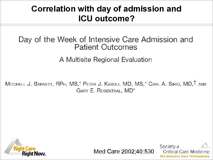Correlation with day of admission and ICU outcome? Med Care 2002; 40: 530