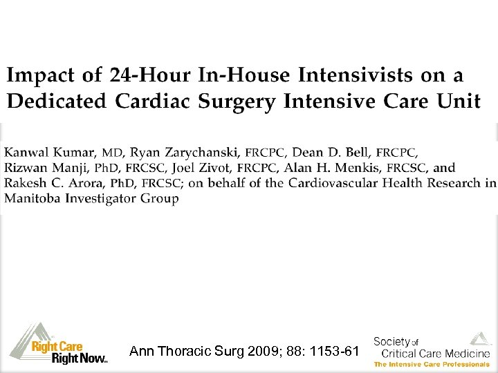 Ann Thoracic Surg 2009; 88: 1153 -61