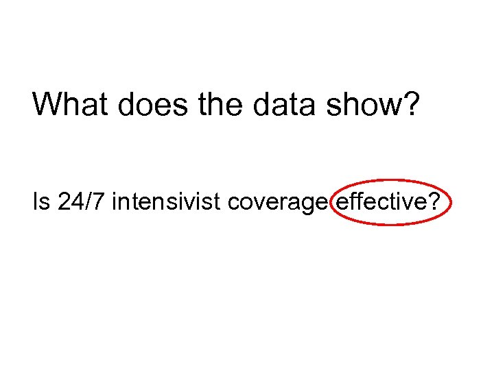 What does the data show? Is 24/7 intensivist coverage effective?