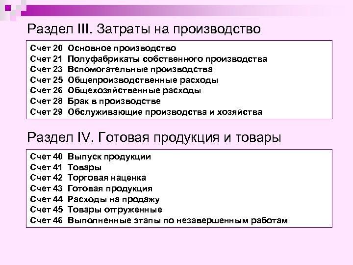 Раздел III. Затраты на производство Счет 20 Счет 21 Счет 23 Счет 25 Счет