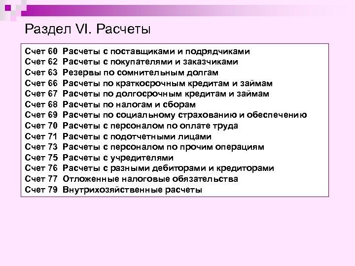 Раздел VI. Расчеты Счет 60 Счет 62 Счет 63 Счет 66 Счет 67 Счет