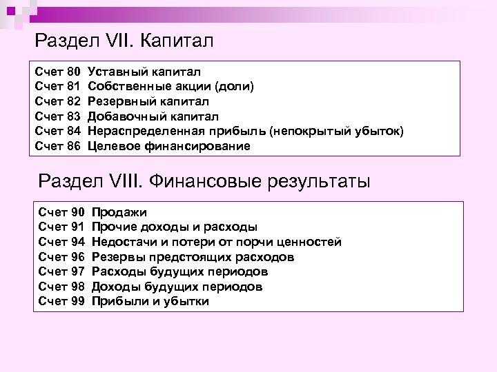 Раздел VII. Капитал Счет 80 Счет 81 Счет 82 Счет 83 Счет 84 Счет
