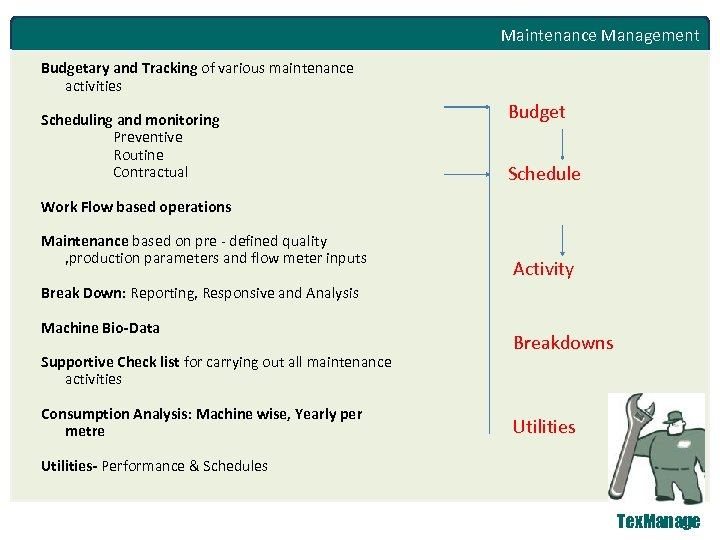 Maintenance Management Budgetary and Tracking of various maintenance activities Scheduling and monitoring Preventive Routine