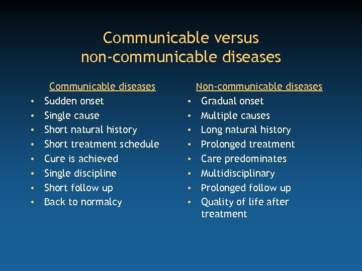 Communicable versus non-communicable diseases • • Communicable diseases Sudden onset Single cause Short natural