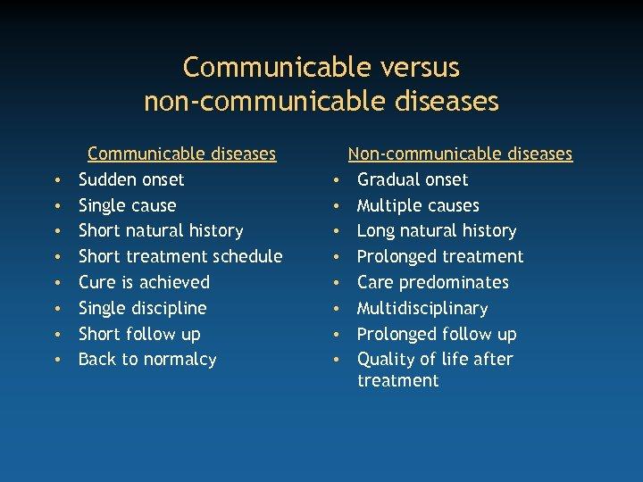 Communicable versus non-communicable diseases • • Communicable diseases Sudden onset Single cause Short natural