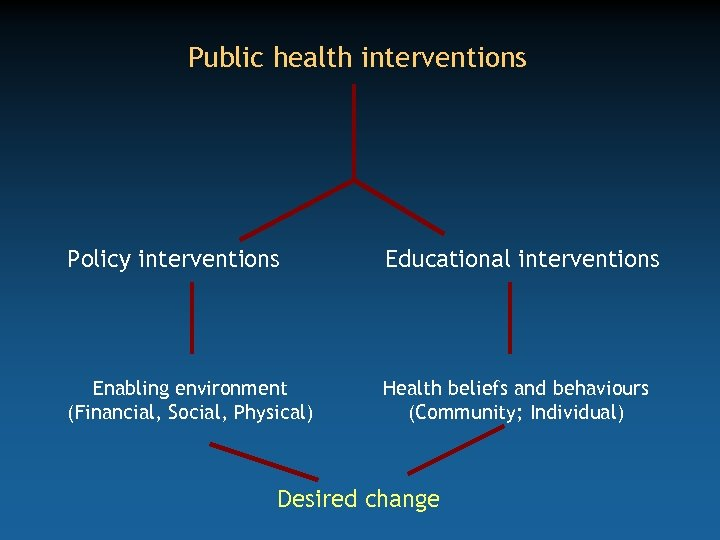 Public health interventions Policy interventions Educational interventions Enabling environment (Financial, Social, Physical) Health beliefs