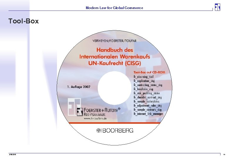 Modern Law for Global Commerce Tool-Box 3/19/2018 14