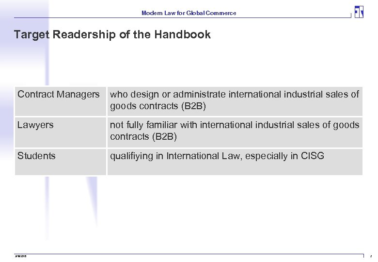 Modern Law for Global Commerce Target Readership of the Handbook Contract Managers who design
