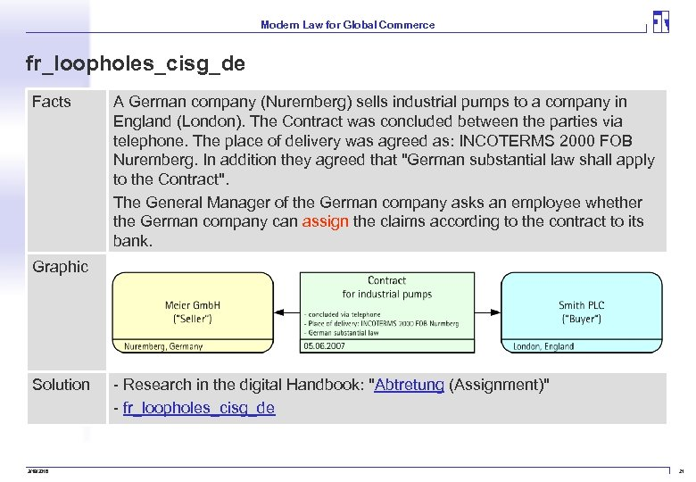 Modern Law for Global Commerce fr_loopholes_cisg_de Facts A German company (Nuremberg) sells industrial pumps