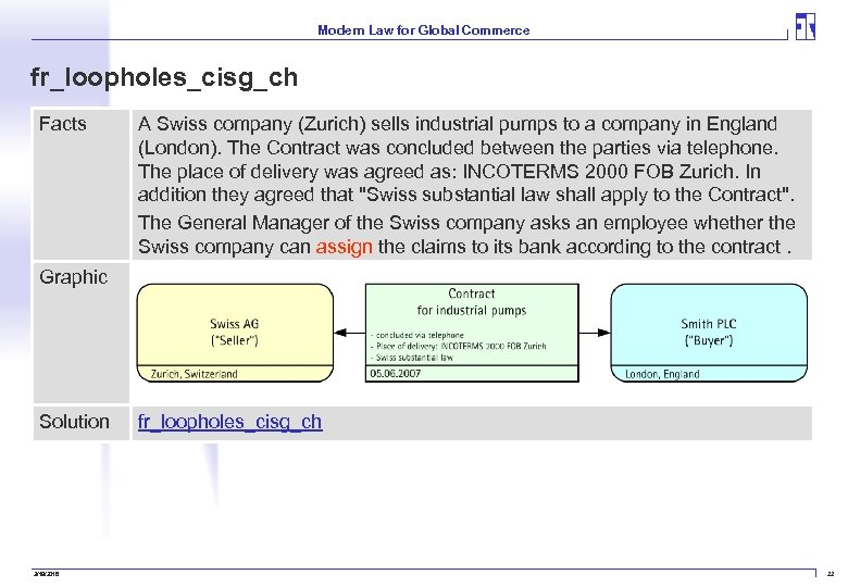Modern Law for Global Commerce fr_loopholes_cisg_ch Facts A Swiss company (Zurich) sells industrial pumps