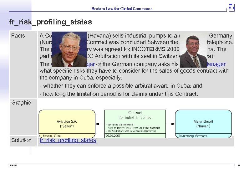 Modern Law for Global Commerce fr_risk_profiling_states Facts A Cuban company (Havana) sells industrial pumps