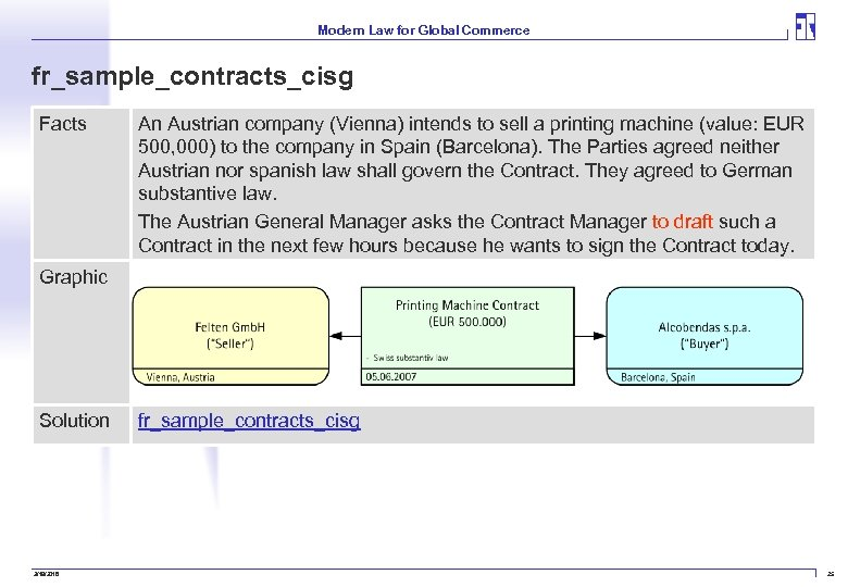 Modern Law for Global Commerce fr_sample_contracts_cisg Facts An Austrian company (Vienna) intends to sell
