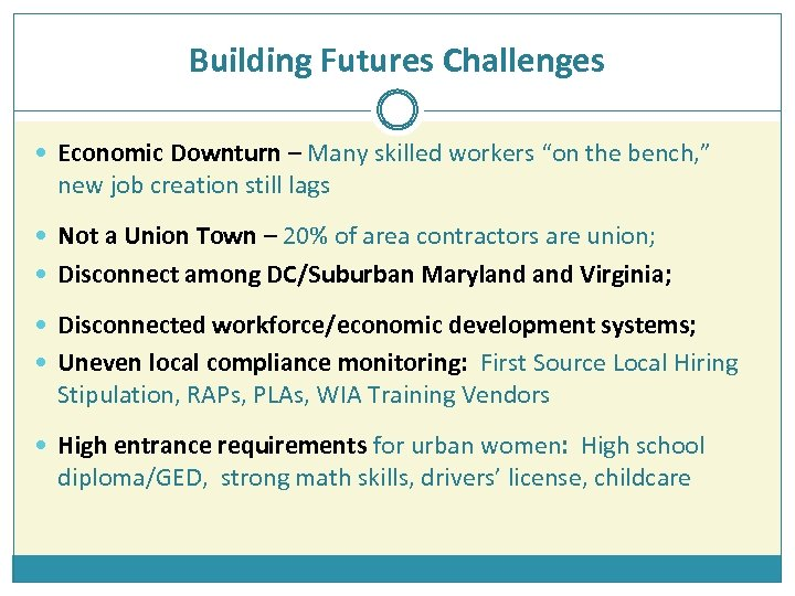 """Building Futures Challenges Economic Downturn – Many skilled workers """"on the bench, """" new"""