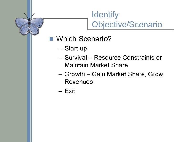 Identify Objective/Scenario n Which Scenario? – Start-up – Survival – Resource Constraints or Maintain