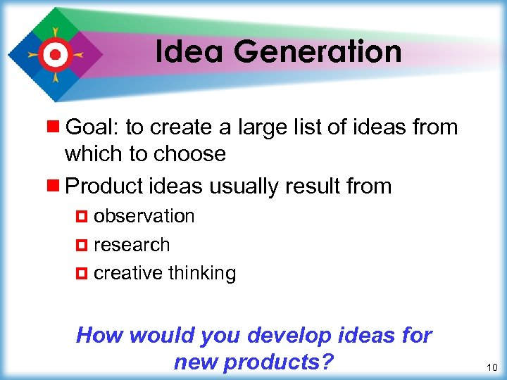 Idea Generation ¾ Goal: to create a large list of ideas from which to