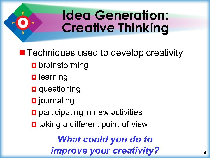 Idea Generation: Creative Thinking ¾ Techniques used to develop creativity ¤ brainstorming ¤ learning