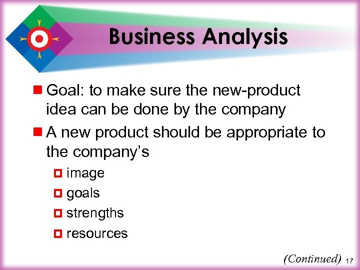 Business Analysis ¾ Goal: to make sure the new-product idea can be done by