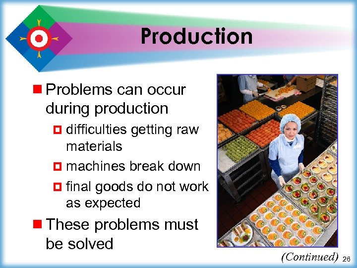 Production ¾ Problems can occur during production ¤ difficulties getting raw materials ¤ machines
