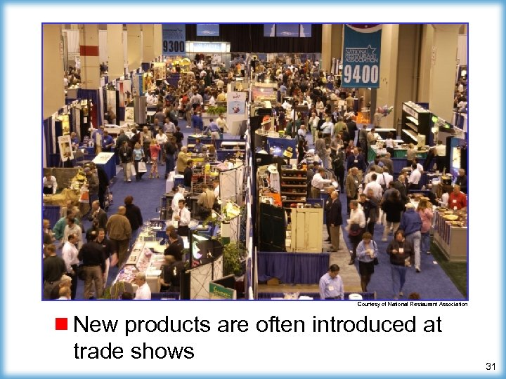 Courtesy of National Restaurant Association ¾ New products are often introduced at trade shows