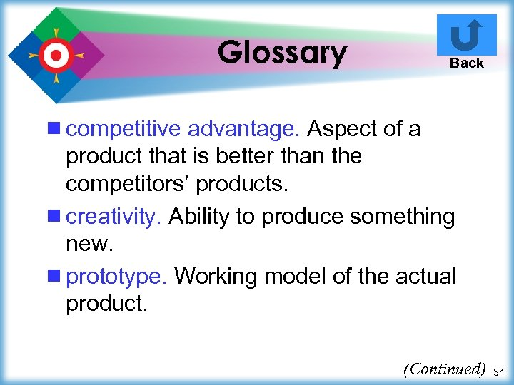 Glossary Back ¾ competitive advantage. Aspect of a product that is better than the
