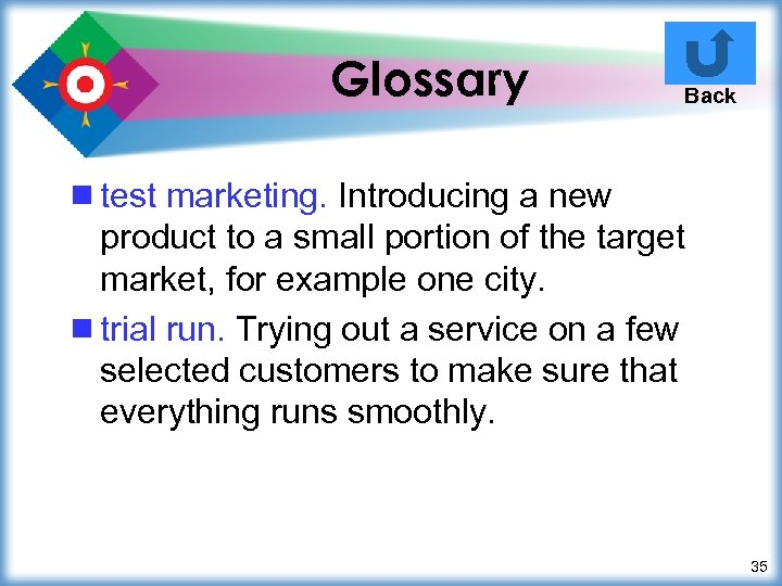Glossary Back ¾ test marketing. Introducing a new product to a small portion of
