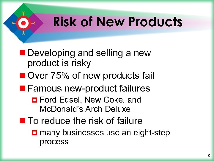 Risk of New Products ¾ Developing and selling a new product is risky ¾