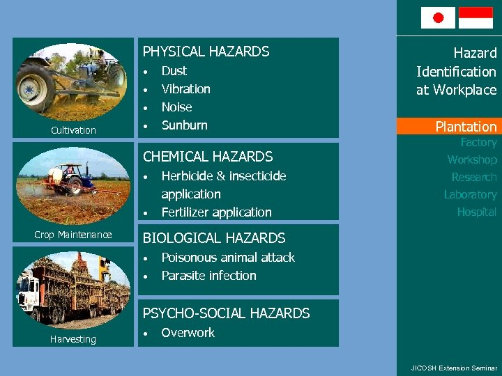 PHYSICAL HAZARDS • • • Cultivation • Dust Vibration Noise Sunburn CHEMICAL HAZARDS •