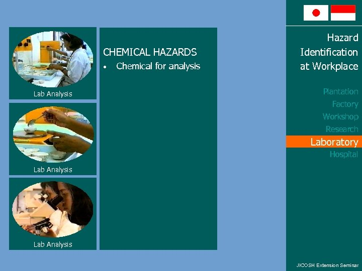 CHEMICAL HAZARDS • Lab Analysis Chemical for analysis Hazard Identification at Workplace Plantation Factory