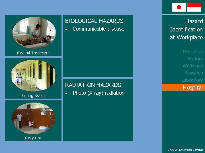 BIOLOGICAL HAZARDS • Communicable disease Hazard Identification at Workplace Plantation Medical Treatment Factory Workshop