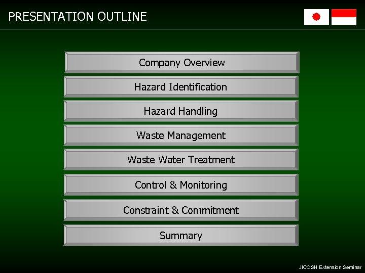 PRESENTATION OUTLINE Company Overview Hazard Identification Hazard Handling Waste Management Waste Water Treatment Control