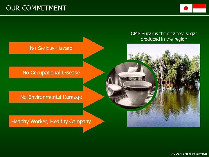 OUR COMMITMENT GMP Sugar is the cleanest sugar produced in the region No Serious