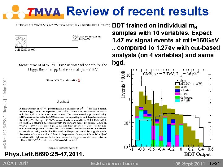 Review of recent results • x BDT trained on individual m. H samples with