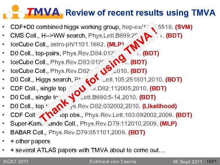 Review of recent results using TMVA • • • • CDF+D 0 combined higgs