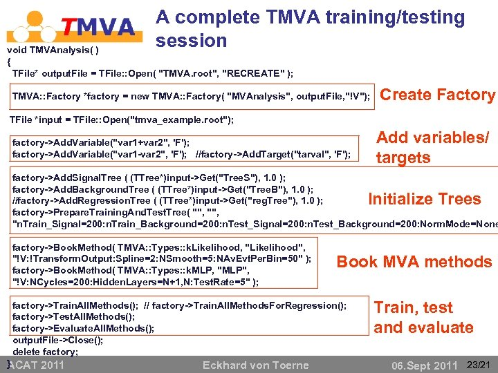 A complete TMVA training/testing session void TMVAnalysis( ) { TFile* output. File = TFile: