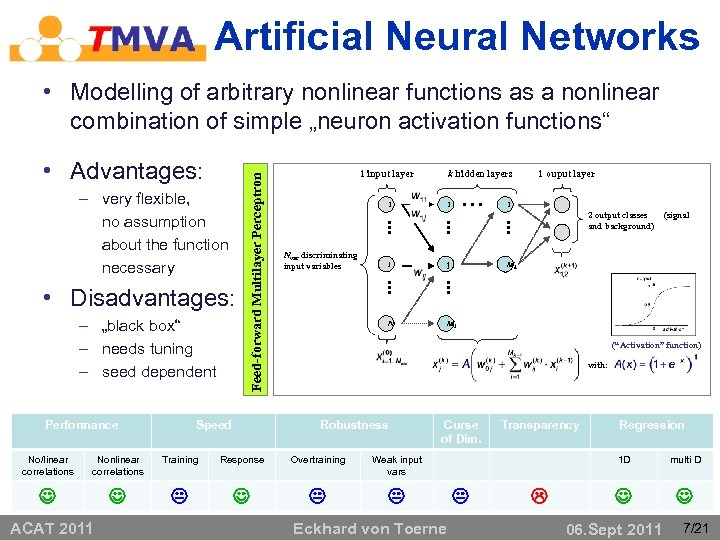 Artificial Neural Networks • Advantages: – very flexible, no assumption about the function necessary