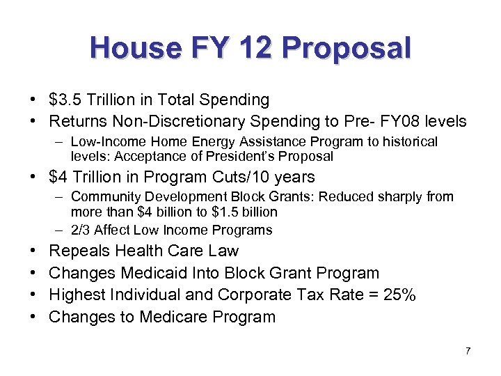 House FY 12 Proposal • $3. 5 Trillion in Total Spending • Returns Non-Discretionary