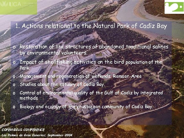 1. Actions relational to the Natural Park of Cadiz Bay o Restoration of the