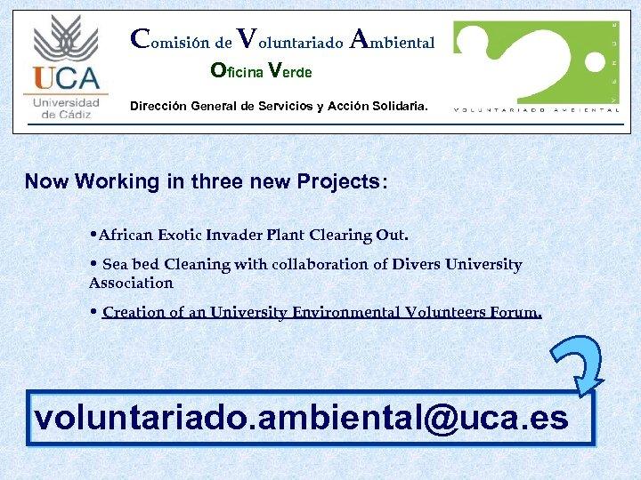 Comisión de Voluntariado Ambiental Oficina Verde Dirección General de Servicios y Acción Solidaria. Now
