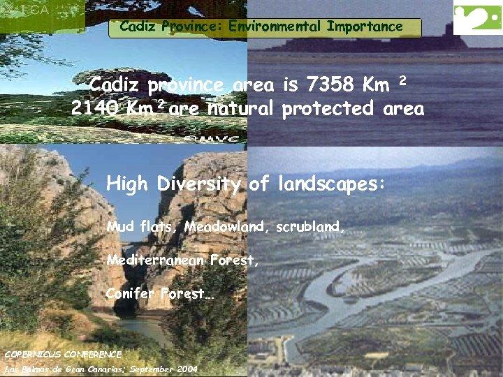 Cadiz Province: Environmental Importance Cadiz province area is 7358 Km 2 2140 Km 2