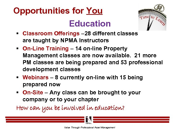 Opportunities for You Education § Classroom Offerings – 28 different classes are taught by