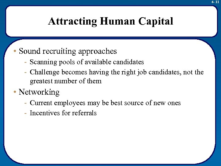 4 - 11 Attracting Human Capital • Sound recruiting approaches - Scanning pools of