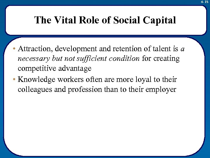 4 - 18 The Vital Role of Social Capital • Attraction, development and retention