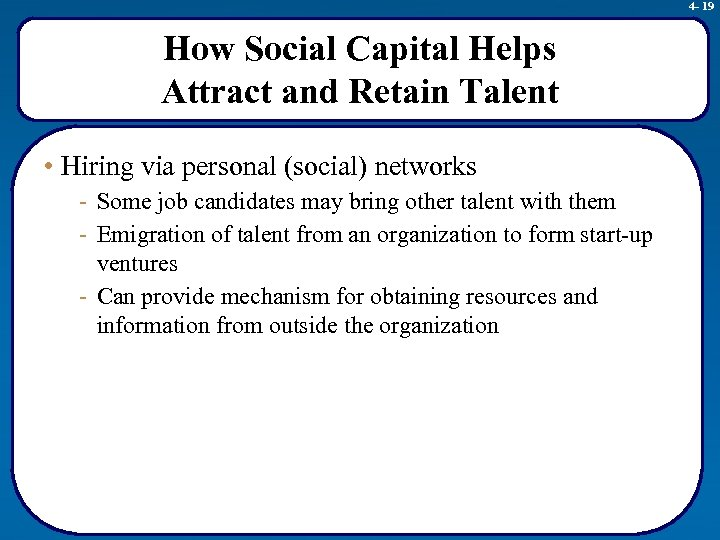 4 - 19 How Social Capital Helps Attract and Retain Talent • Hiring via