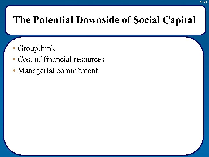 4 - 22 The Potential Downside of Social Capital • Groupthink • Cost of
