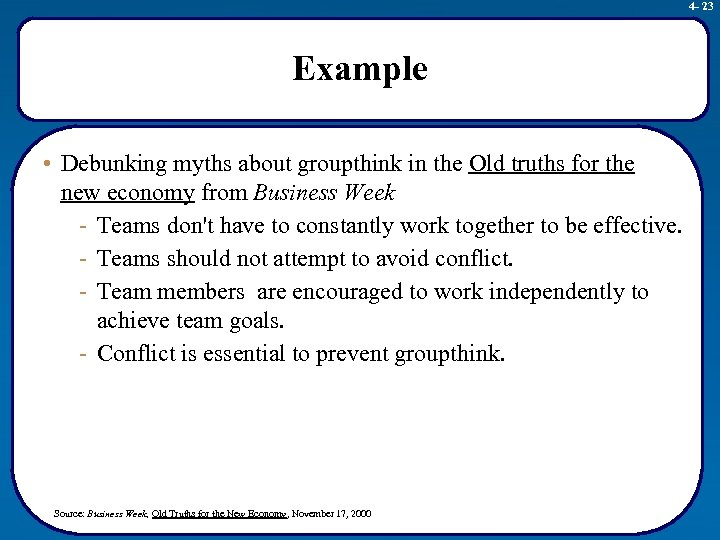 4 - 23 Example • Debunking myths about groupthink in the Old truths for