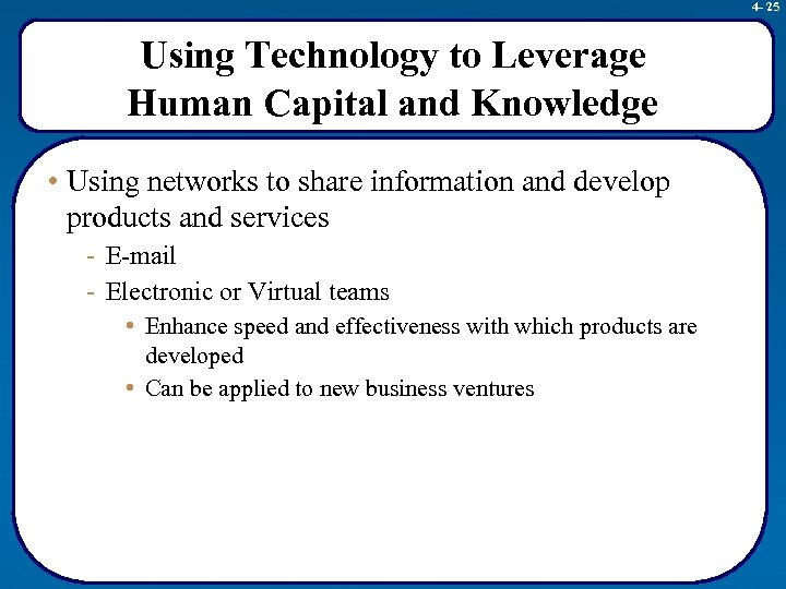 4 - 25 Using Technology to Leverage Human Capital and Knowledge • Using networks