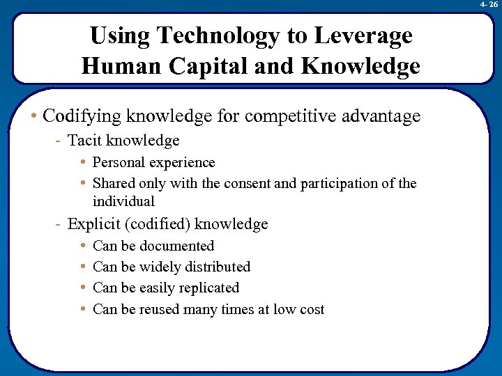 4 - 26 Using Technology to Leverage Human Capital and Knowledge • Codifying knowledge