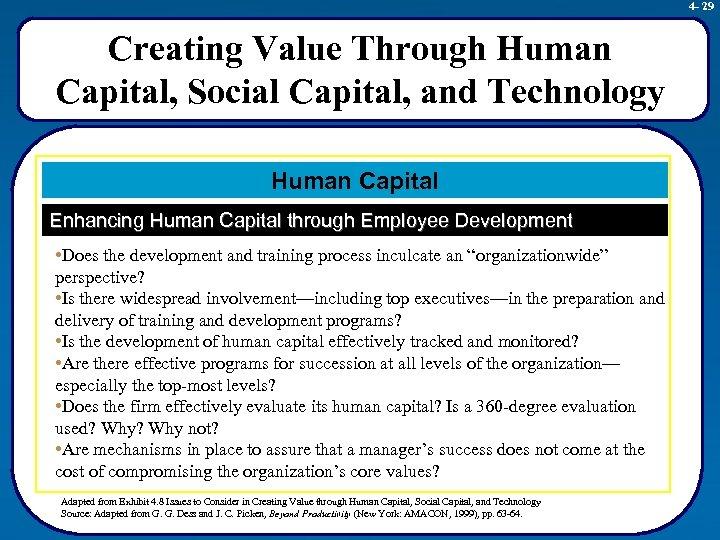4 - 29 Creating Value Through Human Capital, Social Capital, and Technology Human Capital